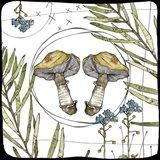 Watercolor Woodlands Gold Mushrooms