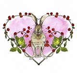Watercolor Bunny in Heart