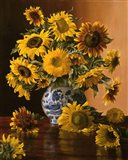 Sunflowers in a Blue Willow Vase