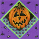 Jack o Lantern with Purple Spiders