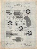 Revolving Fire Arm Patent - Antique Grid Parchment