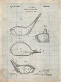 Metallic Golf Club Head Patent - Antique Grid Parchment
