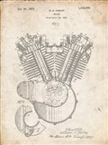 Engine Patent - Vintage Parchment