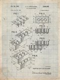 Toy Building Brick Patent - Antique Grid parchment