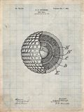 Golf Ball Patent - Antique Grid Parchment