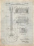 Guitar & Combined Bridge & Tailpiece Therefor Patent - Antique Grid Parchment