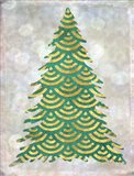 Decorated Green and Gold Xmas Tree