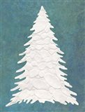 Snowy Fir Tree on Blue