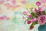 Pink Flowers and Watercolor Painting