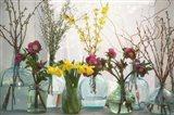 Spring Flowers in Glass Bottles I
