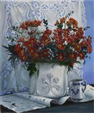 Vaso Bianco con Daliette Amaranto
