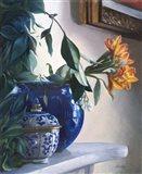 Vaso Blu e Fiore Arancione