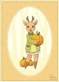 Autumn Woodland Deer