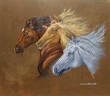 Three Horse Heads Running