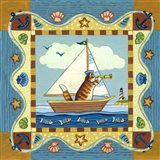 Folk Art Cat Sailing