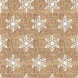 Burlap White Snowflakes