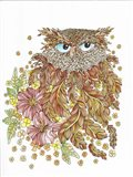 Watercolor Feathery Owl