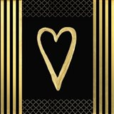 Black & Gold - Feathered Fashion Heart