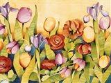 Iris & Tulips/ Yellow Background