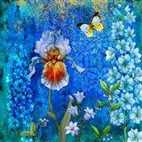 Delphinium And Iris