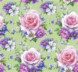 Pattern With Roses And Hellebore