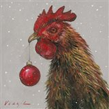 Rooster with Red Xmas Ball