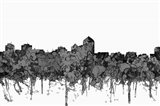 Albuquerque New Mexico Skyline - Cartoon B&W