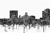 Augusta Georgia Skyline - Cartoon B&W