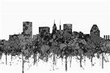 Baltimore Maryland Skyline - Cartoon B&W