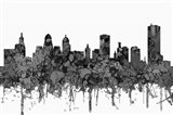 Buffalo New York Skyline - Cartoon B&W