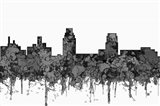 Camden New Jersey Skyline - Cartoon B&W