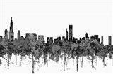 Chicago Illinois Skyline - Cartoon B&W