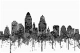 Cincinnati Ohio Skyline - Cartoon B&W