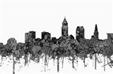Cleveland Ohio Skyline - Cartoon B&W