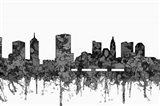Columbus Ohio Skyline - Cartoon B&W