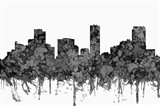 Denver Colorado Skyline - Cartoon B&W