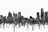 Detroit Michigan Skyline - Cartoon B&W