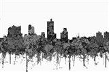 Fort Worth Texas  Skyline - Cartoon B&W