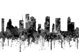 Houston Texas Skyline - Cartoon B&W