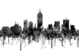 Indiana Indianapolis Skyline -Cartoon B&W