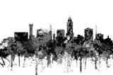 Lincoln Nebraska  Skyline - Cartoon B&W