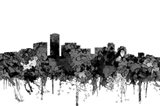 Long Beach California Skyline-  Cartoon B&W