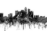 Los Angeles California Skyline - Cartoon B&W