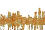 Detroit Michigan Skyline - Rust