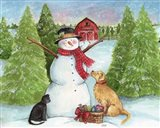 Snowman Dog And Cat Farm Horizontal