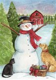 Snowman Farm With Dog And Cat
