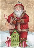 Santa with Birdhouse and Presents