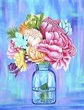 Colorful Flowers in Mason Jar