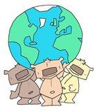 Three Teddies Holding the World