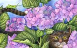 Cat in the Hydrangeas